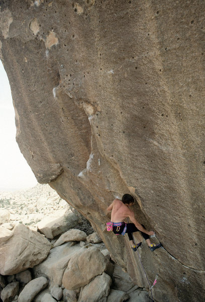 Randy Leavitt on Hotpants (5.13b), 1989