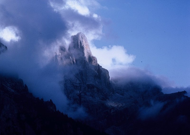 Cima della Madonna, the evening after my ascent of the Scarf Arete (Highlighted by shadows on the arête proper).