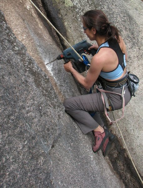 Rock Climbing Photo: The first ascentionist putting in some elbow (and ...