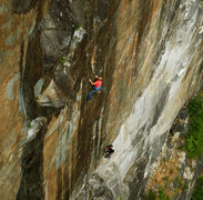 Rock Climbing Photo: High up on Humble Pie (11c) (photo from Defecto)