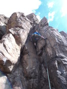 Rock Climbing Photo: Dave gets the good holds on top of the crux flake ...