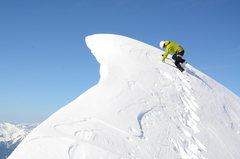 Rock Climbing Photo: Ben, descending from the summit across the cornice...
