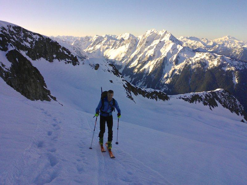 Skinning up the Eldorado Glacier at dawn