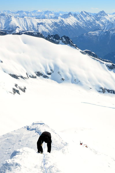 Rock Climbing Photo: Looking down the summit ridge to our skis