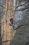 Rock Climbing Photo: Erica using short girl beta at the first crux