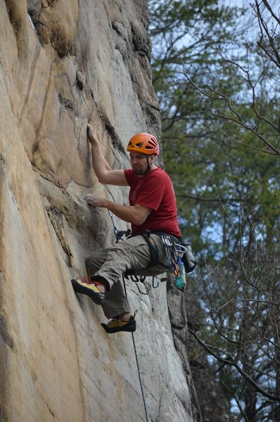 Steve traversing into the second crux