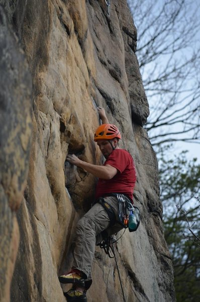Steve at the start of the second crux