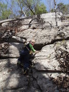 Rock Climbing Photo: Zackary starting the route