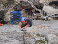 Rock Climbing Photo: Tim cleaning the route