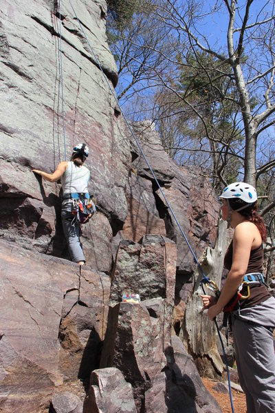 Belayer and climber on Beginner's Face.