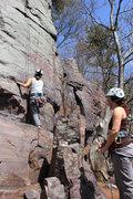 Rock Climbing Photo: Belayer and climber on Beginner's Face.