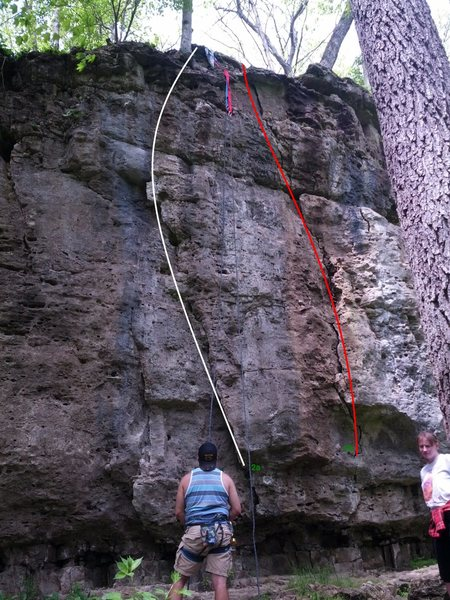 Rock Climbing Photo: 2 routes that we took on the second green anchor t...