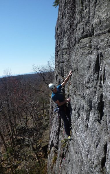 Rock Climbing Photo: Onsighting on the Clamshell Wall on a gorgeous spr...