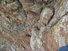 Rock Climbing Photo: The cracks in the upper part of the route.