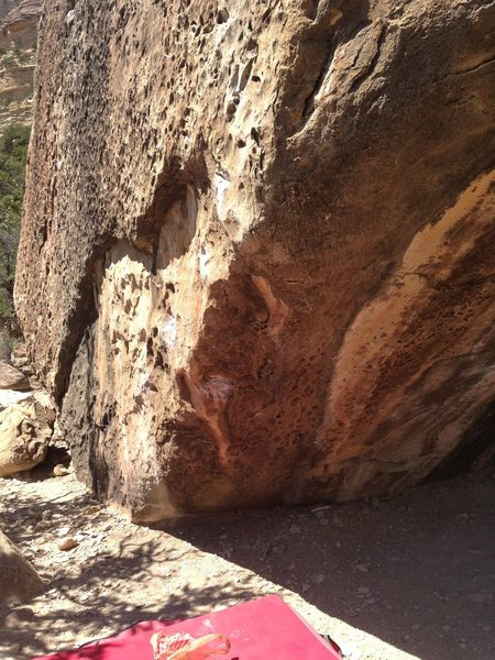 Rock Climbing Photo: This shows the lower (and crux) part of the proble...