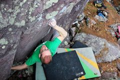 Rock Climbing Photo: CE eyeing the cross left move.  Photo Ian Cotter-B...
