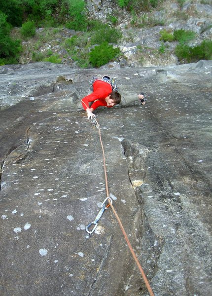 Rock Climbing Photo: Dylan following the fifth pitch of Coachs Fables. ...
