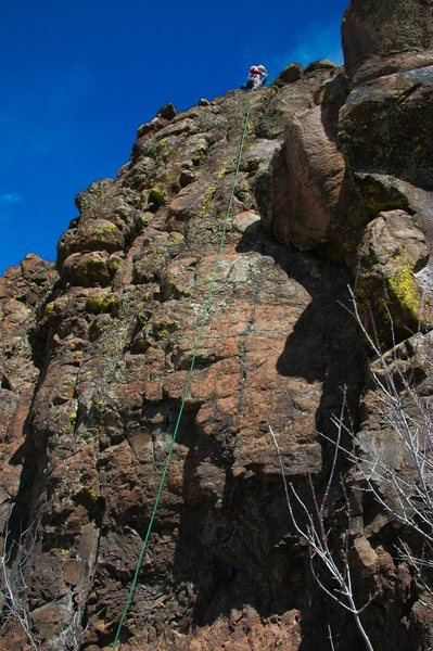 Rock Climbing Photo: The route stays left of the rope. Don't be fooled,...