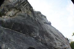 Rock Climbing Photo: A climber midway on The Nose (5.8).