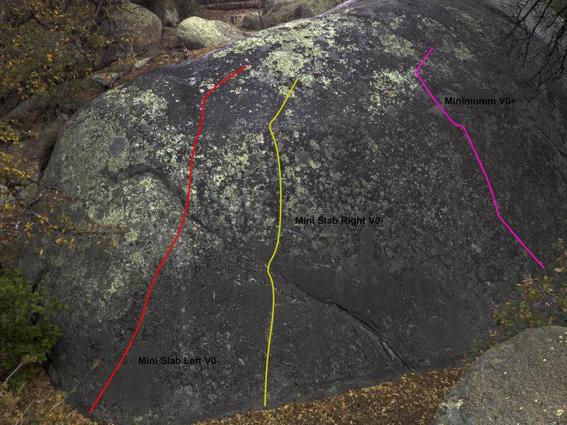 The northwest side of the Mini Slab boulder.