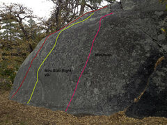 Rock Climbing Photo: The Routes of the Mini-Slab Boulder