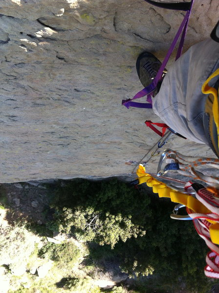 Rock Climbing Photo: Aid solo with grigri at Stoney Point's Jesus Wall