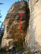 Rock Climbing Photo: Topo for Wax Off. Follow the red line.
