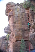 Rock Climbing Photo: joe sacking up racking up and putting up most like...