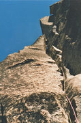 Rock Climbing Photo: Phil Gleason, 4th pitch 5.10 chimney variation. 19...