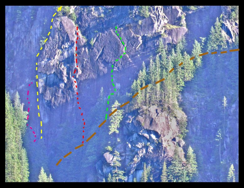Diamond Wall, with Duck Wall at lower right, and the edge of the Beyond at the far upper right. Brown line is the trail. <br> <br> Routes, left to right: <br> <br> Magenta: Dark Crystal. 11b. <br> Yellow: Dihedral. 5.8 A4.<br> Red: Centerfold. 10d.<br> Green: Hell Bent for Glory. 10d A0.<br> <br>