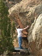Rock Climbing Photo: The span required for the sidepull tick tacks.