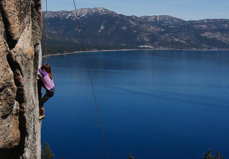 Rock Climbing Photo: daughter at Crystal bay Boulder