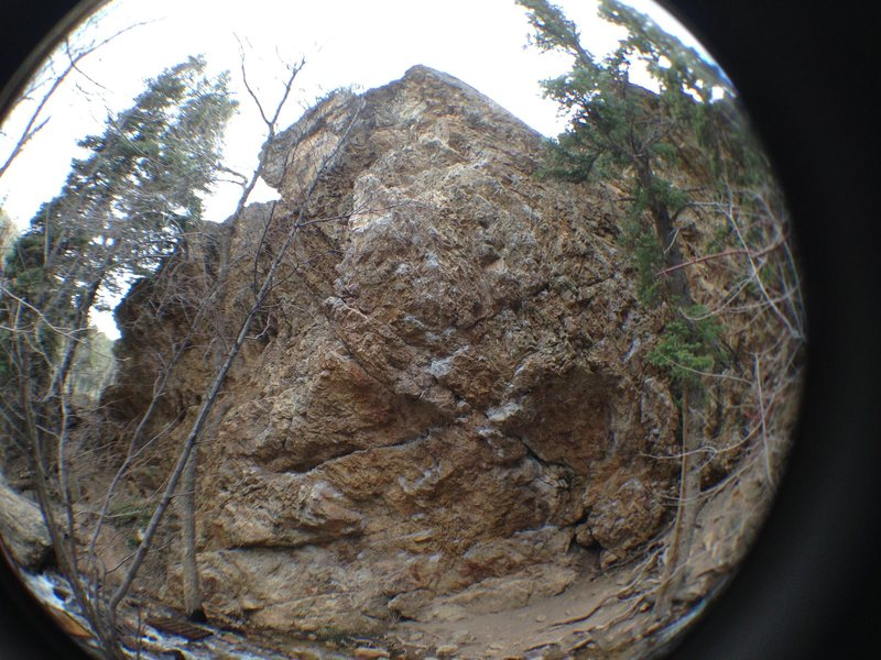 Fish eye photo of the entire Pile, only way to get the entire rock in the photo.  Left, dog, right, all are in this photo