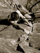 Rock Climbing Photo: Finishing up the last moves on the classic Cracked...