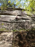 Rock Climbing Photo: Meaghan Smith approaching the crux of Gentle Viole...