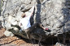 Rock Climbing Photo: Foot beta for the top part of problem nine.
