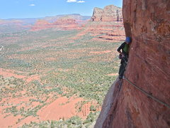 Cullen on the P5 traverse