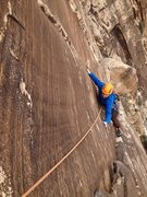 Rock Climbing Photo: Ryan Strong on the pitch 6 step across move. Drama...