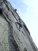 Rock Climbing Photo: Tom leading P1 of The Black Sea (11b) on the first...