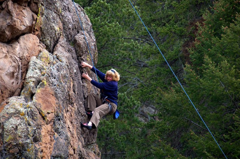 Rock Climbing Photo: Laybacking through the steep crux section.