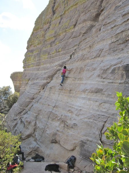 Jill Hadap on the slabby section of the route. Photo Jimbo