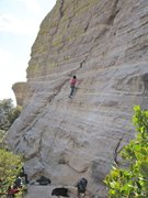 Rock Climbing Photo: Jill Hadap on the slabby section of the route. Pho...