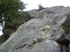 Rock Climbing Photo: Clipping the 5th bolt.