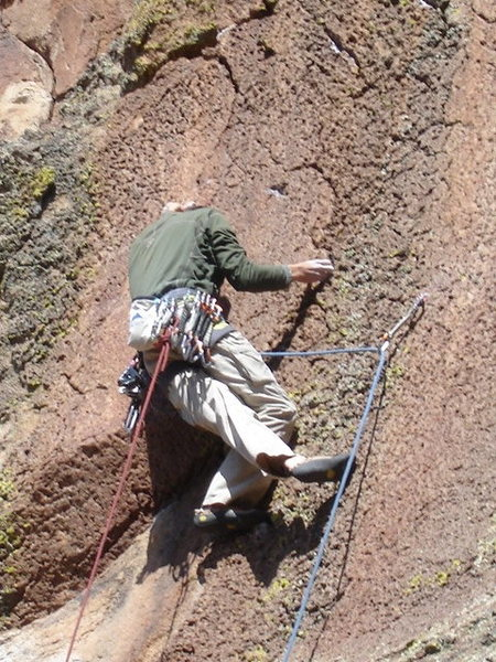 Rock Climbing Photo: JJ beginning the crux sequence