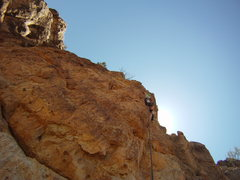 Rock Climbing Photo: Stepping out to the steeper section prior to a sma...