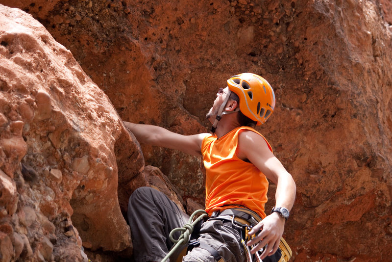 Rock Climbing Photo: looking for a way over the roof