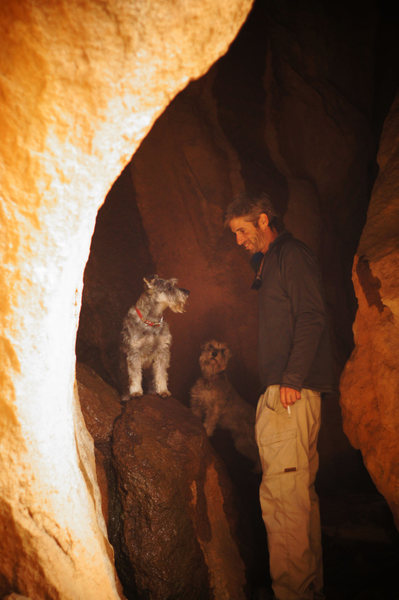 JJ, Barley & Roggen hanging out in the smaller caves at the base of She's A Squirter.