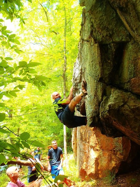 """Starting """"Spit on the Dog"""" with a heel hook on the faint ledge....."""