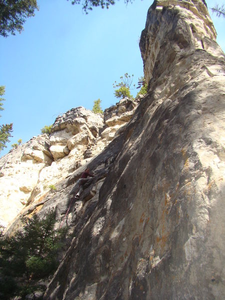 Cali Terveen successfully navigates past the crux.