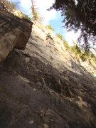 Rock Climbing Photo: Carl gets JUG-galo-tastic at the top of Shaggy-2-S...
